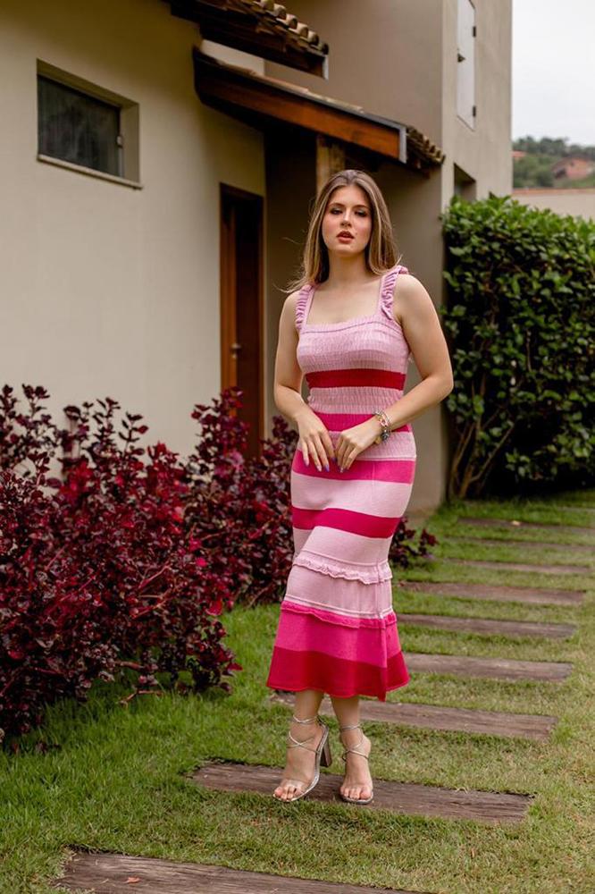 Vestido Lastex Listra Larga Marilia