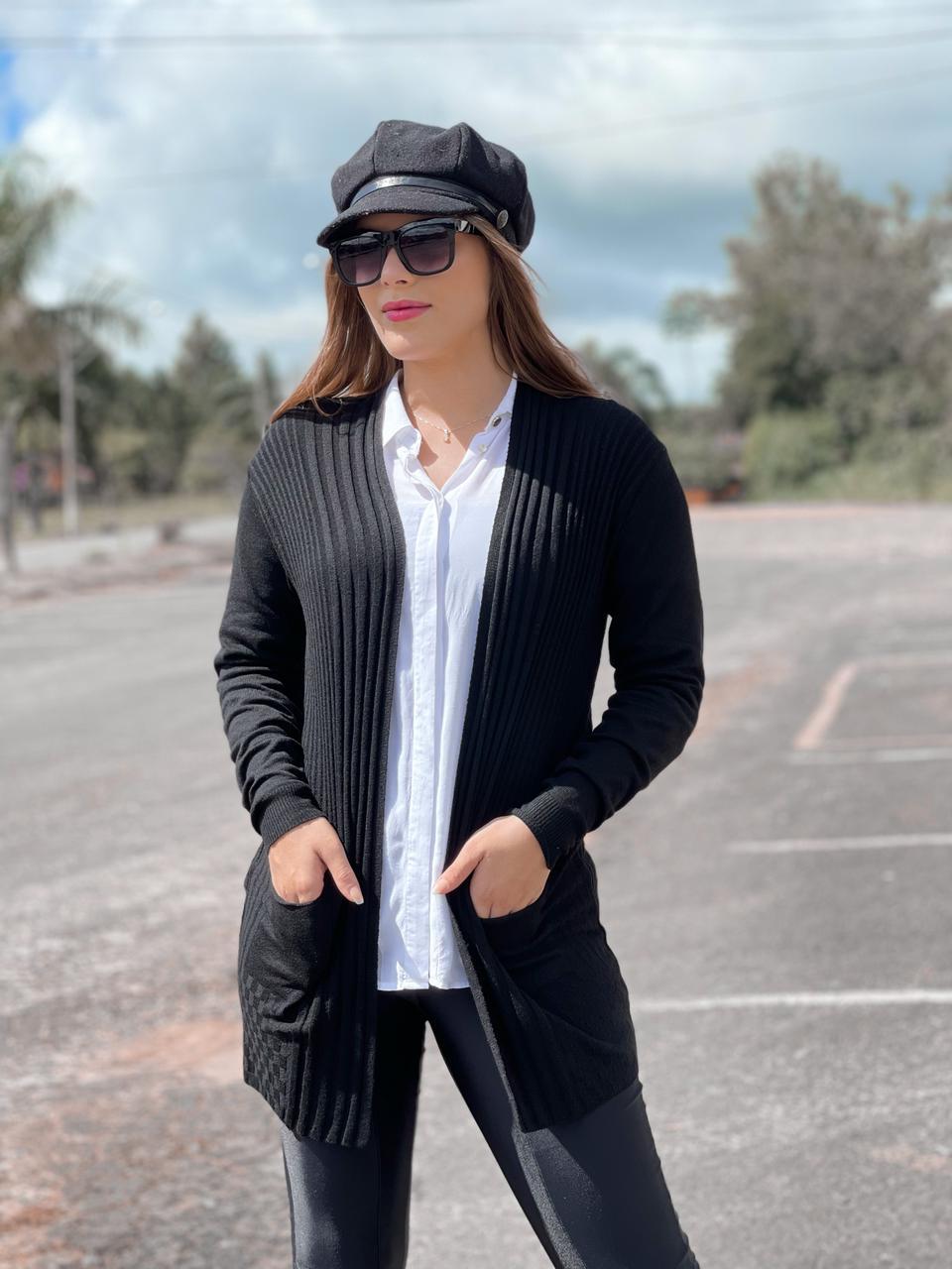 Maxi Cardigã Lenita - bolso modal